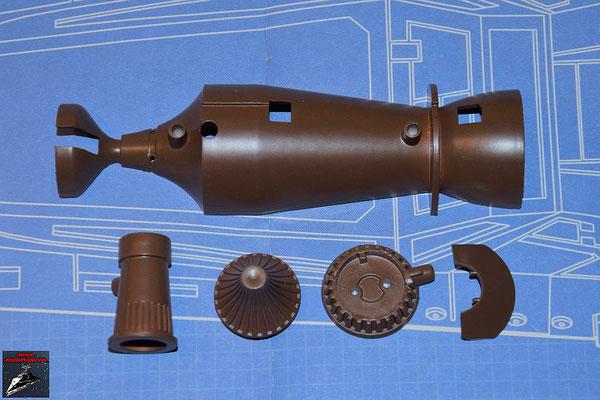 DeAgostini Bau deinen X-Wing Ausgabe 56 untere Hälfte Fusionskammer, Alluviadämpfer, Turbogenerator-Abdeckung, Turbogenerator und Fusionskammer-Befestigung (Kunststoff)
