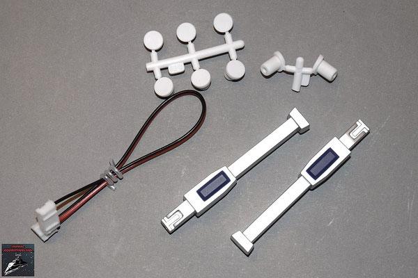 Build your own R2-D2 Ausgabe 34 Motorkabel, Details für die Brennstoffzellenabdeckung (Kunststoff) und Stecker für die Schraubenlöcher (Gummi)