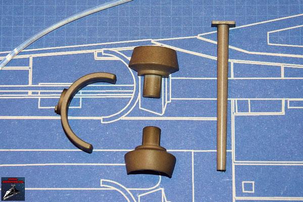 DeAgostini Bau deinen X-Wing Ausgabe 34 Laserkanone: Rückstoßdämpfer, Rückstoßdämpfer-Halterung und Ermitter (Kunststoff)