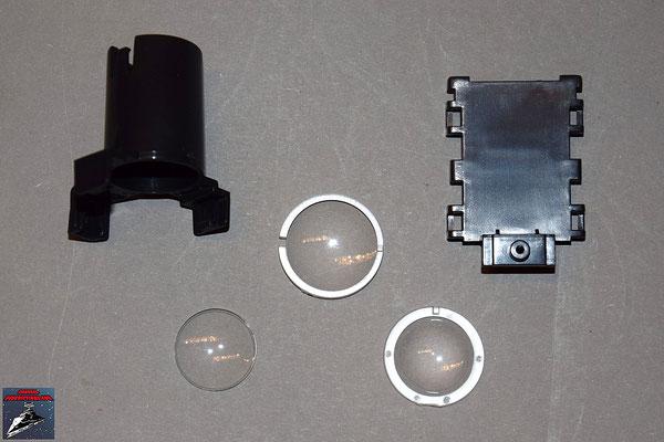 Build your own R2-D2 Teile des Projektors und Projektorlinsen