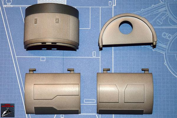 DeAgostini Bau deinen X-Wing Ausgabe 24 Antriebsgehäuse, untere und obere Hälfte, linke und rechte Landestützenklappe (Kunststoff)