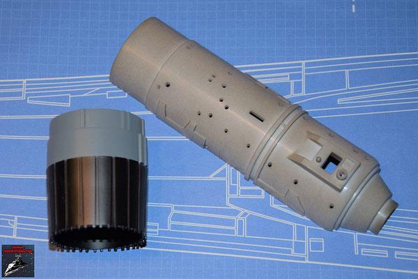 DeAgostini Bau deinen X-Wing Ausgabe 57 Schubdüse und untere Hälfte Fusionstriebwerksgehäuse (Kunststoff)