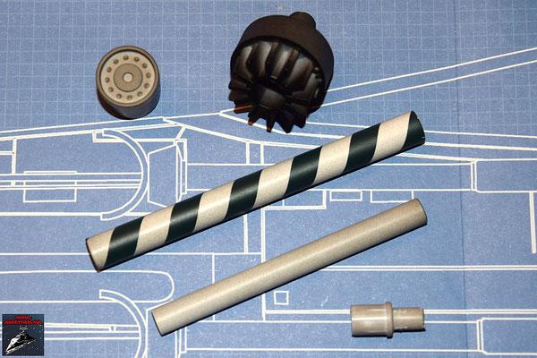 DeAgostini Bau deinen X-Wing Ausgabe 32 Kanonen- und Endrohr der Laserkanone (Kunststoff und Metall), Verbindungsstück und vordere und hintere Abdeckung (Kunststoff)