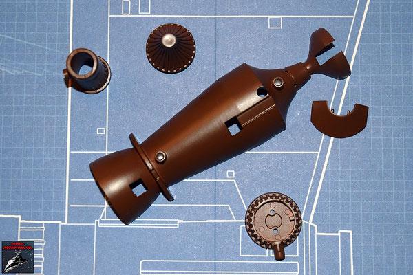DeAgostini Bau deinen X-Wing Ausgabe 26 Fusionskammer, unter Hälfte, Fusionskammer-Befestigung, Alluvialdämpfer, Turbogenerator und Turbogenerator-Abdeckung (Kunststoff)