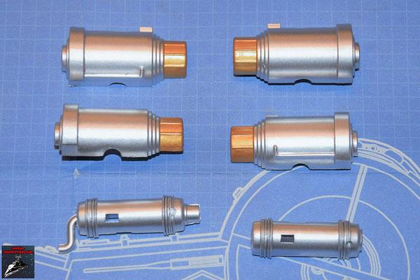 DeAgostini Bau deinen X-Wing Ausgabe 79 Linker und rechter Wärmetauscher (jeweils zwei Hälften) und Übertragungskammer (zwei Hälften) (alles Kunststoff=
