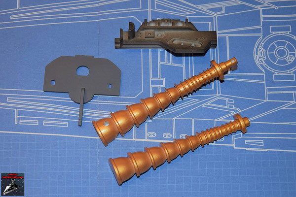 DeAgostini Bau deinen X-Wing Ausgabe 60 Flügelhinterkante-Verstärkung, interne Trennwand und beide Hälften des Reaktandeinspritzers (Kunststoff)