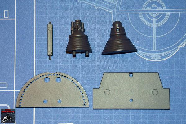 DeAgostini Bau deinen X-Wing Ausgabe 24 Gyroskop, obere und untere Hälfte, Kühlflügel, obere Abdeckplatte und horizontale Schaufel (Kunststoff)