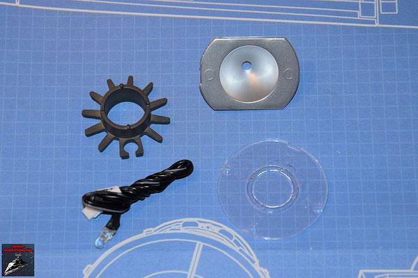 DeAgostini Bau deinen X-Wing Ausgabe 57 Schubdiffusor, Reflektor, LED für den Antrieb und Linse (Kunststoff)