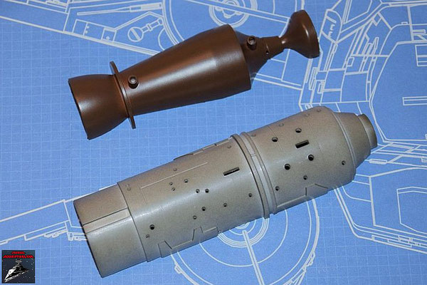 DeAgostini Bau deinen X-Wing Ausgabe 55 obere Hälfte Fusionskammer und obere Hälfte Fusionstriebwerksgehäuse (Kunststoff)
