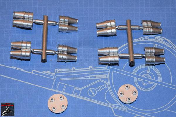DeAgostini Bau deinen X-Wing Ausgabe 80 Antriebsdüsen (acht Hälften) und zwei Endplatten Hyperantrieb (alles Kunststoff)