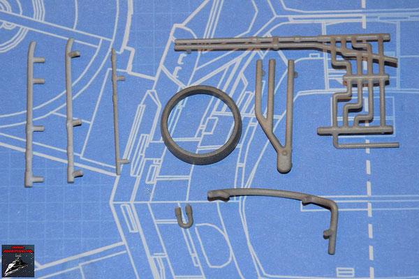 DeAgostini Bau deinen X-Wing Ausgabe 57 Sieben Anbaudetails für die untere Hälfte des Fusionstriebwerksgehäuses und Schließring (Kunststoff)