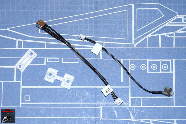 DeAgostini Bau deinen X-Wing Ausgabe 37 Halteplättchen für die Antenne und den Stecker, Schalter und Antenne