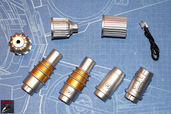 DeAgostini Bau deinen X-Wing Ausgabe 20 Läsergenerator, Endstück des Lasergenerators, hintere Abdeckung, Mittelstück, Lasergenarator außen (Kunststoff)