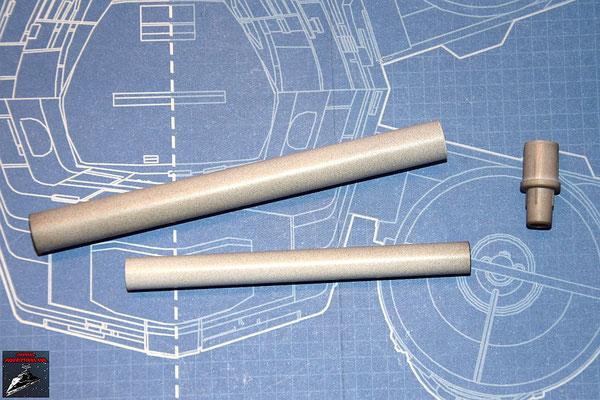 DeAgostini Bau deinen X-Wing Ausgabe 19 Kanonenrohr und Endrohr der Kanone (Metall), Verbindungsstück (Kunststoff)