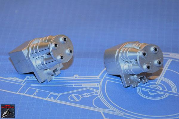 DeAgostini Bau deinen X-Wing Ausgabe 80 Die Hälften der Antriebsdüsen werden zusammengesteckt und die Endplatten der Hyperantriebe befestigt