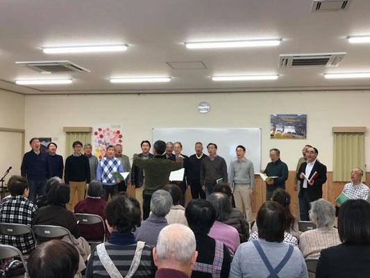 あおい地区集会所で一ノ蔵男声合唱団のミニコンサート