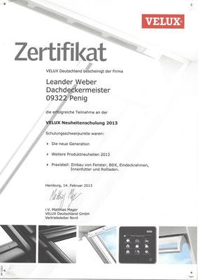 Zertifikat zur Produktschulung von Velux