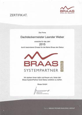 Ernennung zum Braas Systempartner Gold für das Jahr 2015