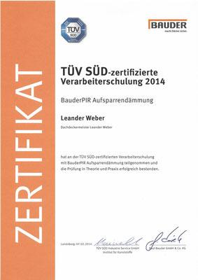 Bauder TÜV Zertifikat für Aufsparrendämmung