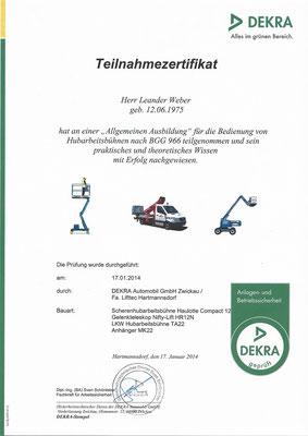 Dekra-Zertifikat zum Umgang mit Hubarbeitsbühnen