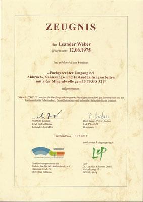Zeugnis zum Workshop Asbestsanierung