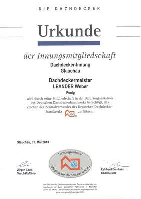 Urkunde zur Mitgliedschaft der Dachdeckerinnung