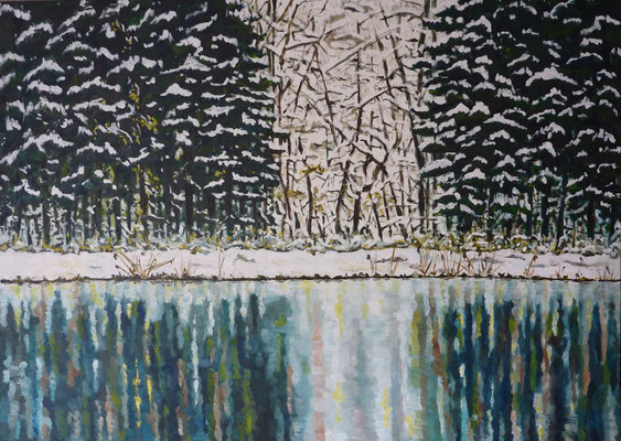 Winter am Teich (50 x 70 cm) - 630 Euro