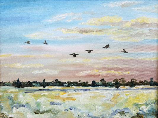 Wildgänse im Winter (18 x 24 cm) unverkäuflich