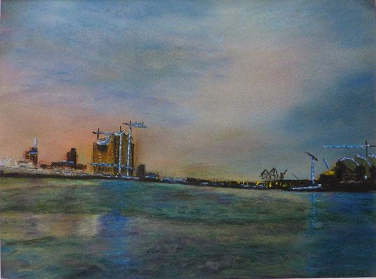 Morgendämmerung im Hamburger Hafen - 350 Euro