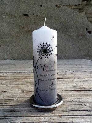 Gedenkkerze Pusteblumen, ivory mit schwarzem Acryl, Maße: 30x8cm, Preis: EUR 85,--