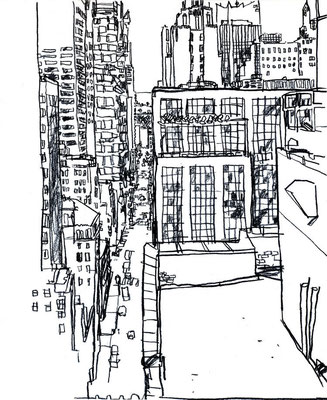 NYC Rooftop, 11x14, Charcoal on paper.