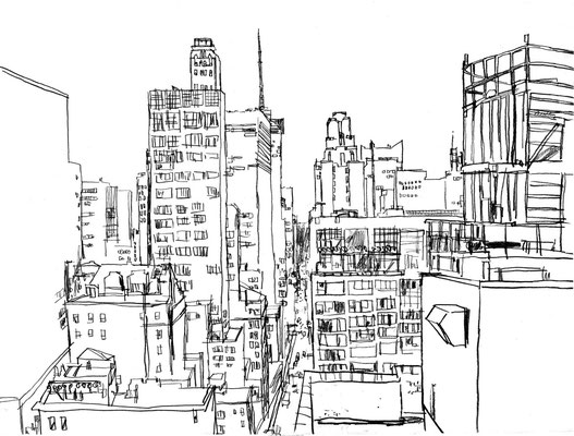 NYC Rooftop, 18x24, Charcoal on paper.