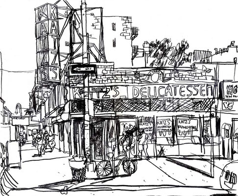 Katz's Deli, 18x24, Charcoal on paper.