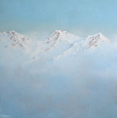 Gebirge II, Acryl, Sand auf Leinwand, 80x80cm
