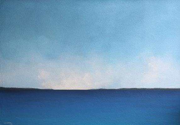 Ostsee, Acryl, Sand auf Faserplatte, 70x100cm