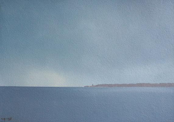 Ostsee Viinistu, Acryl, Sand auf Karton, 35 x 49,5cm