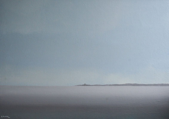 Ostsee Viinistu, Acryl, Sand auf Faserplatte, 70x100cm