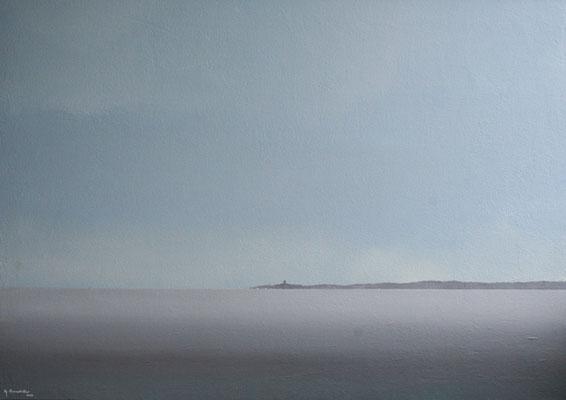 Ostsee Viinistu, Acryl, Sand auf Faserplatte, 70x100cm, Privatbesitz