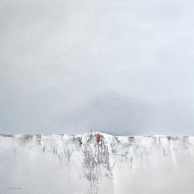 Letzter Schnee, Acryl, Sand auf Leinwand, 80x80cm