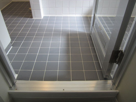 バスルーム(浴室)クリーニングのタイル張りの床(水垢除去)