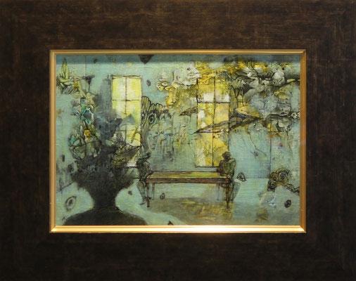 夢現録 最後の部屋 キャンバス・アクリル・インク・ニス 334 × 242mm