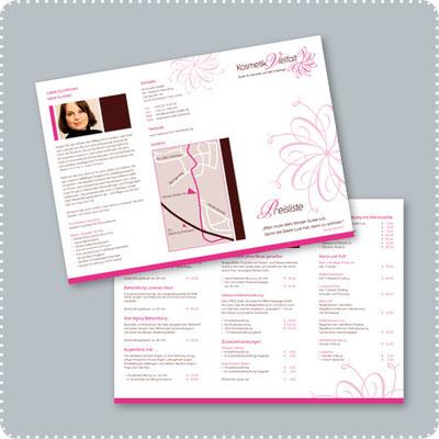 Preisliste für das Kosmetikstudio Henseling