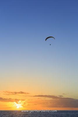Gleitschirmflieger, Sonnenuntergang, Puerto Naos