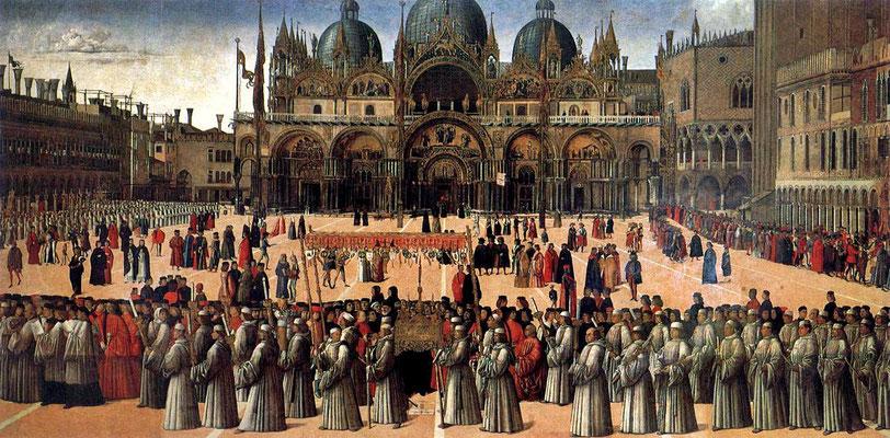 Gentile Bellini, Processionne in Piazza San Marco (1496)
