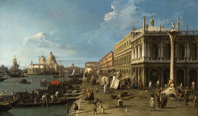 Canaletto, Molo verso Ovest con la colonna di San Teodoro