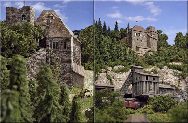 """Links: Burg vom """"Burgwald"""" aus gesehen. Der VW-Bully-Doppelkabine ist mal wieder ein schönes Modell von Marks. Rechts sieht man den Blick von der Hauptstrecke, über die Nebenstrecke und den Steinbruch, hinauf zur Burganlage."""
