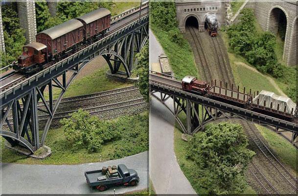 Hier kreuzen sich Haupt- und Nebenbahn. Die Straße führt ebenfalls durch die Brücke. Streckenüberquerung mit Faller-Brücke. Im Hintergrund das Portal (Pola) zum unteren Schattenbahnhof. Die kleine Kö I ist von Marks Klein-Kunst. Die Köf II von Arnold.