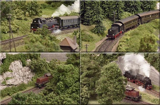 """Vier mal Nebenbahn-Romantik pur! Rechts unten: Das Tunnelportal des """"Großen Burgbergs"""" Richtung Bahnhof. Das Portal habe ich aus 4mm-Sperrholz ausgesägt (mit der Laubsäge), mit Heki-dur-Platten beklebt und anschließend bemalt."""