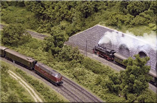 Zweigleisige Hauptstrecke und eingleisige Nebenstrecke laufen eine Weile parallel, bis die Nebenbahn die Hauptbahn überquert.