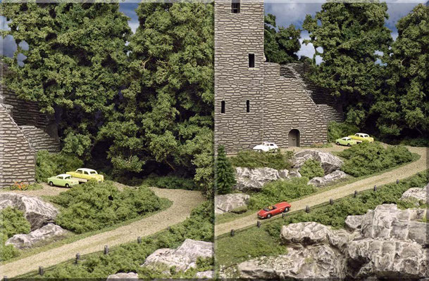 """Die Landstrasse führt eng an der Felswand des Kl. Burgbergs entlang. Die Burgruine besteht aus einer """"Ersatzteil-Bestellung"""" von ausgesuchten Teilen der großen Pola-Burganlage. Die bestellten Teile wurden erfreulicherweise kostenlos geliefert."""